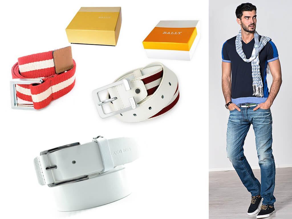 """Для джинсов с """"рваными"""" вставками мужской ремень белый однотонный или с контрастными полосами, как у Балли - просто верх эстетического эксперимента!"""