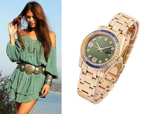 Женские часы Rolex с циферблатом зеленого цвета