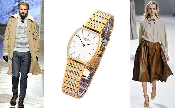 Наручные часы Longines с серебристо золотым браслетом