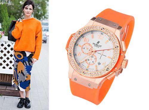 Часы Hublot с оранжевым ремешком