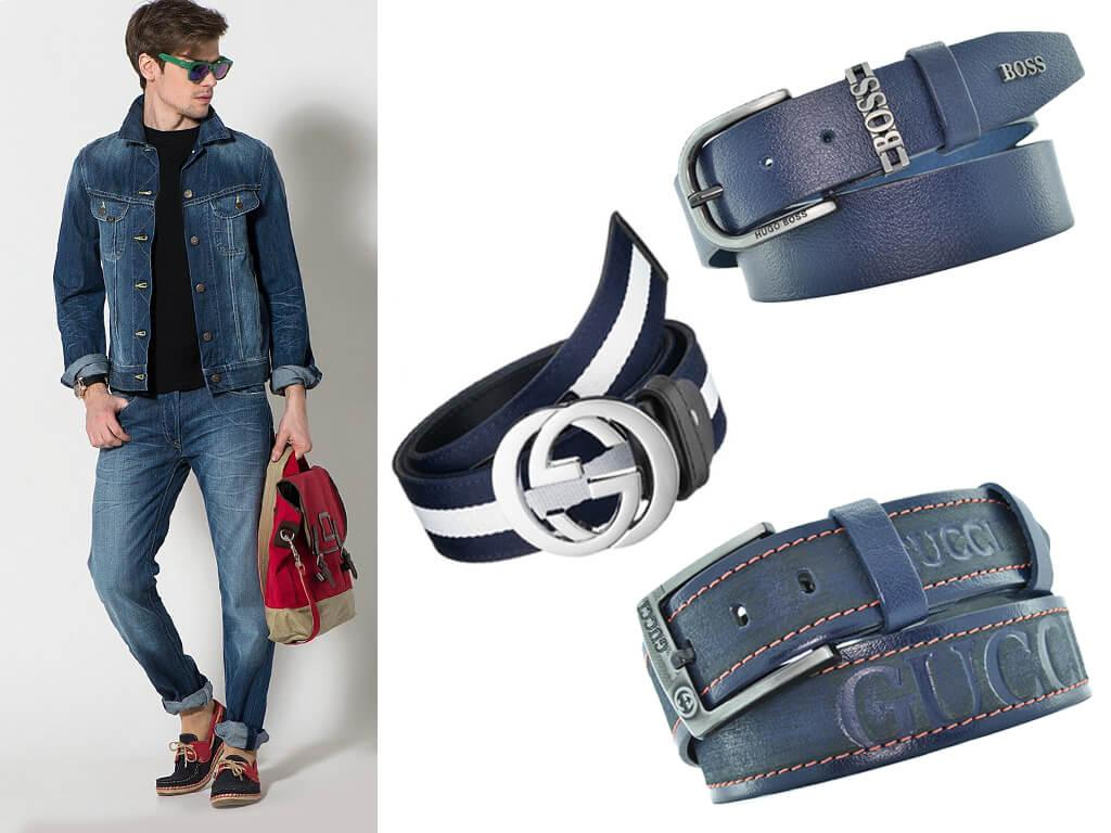 Мужской синий ремень присутствует в гардеробе любого современного джентльмена