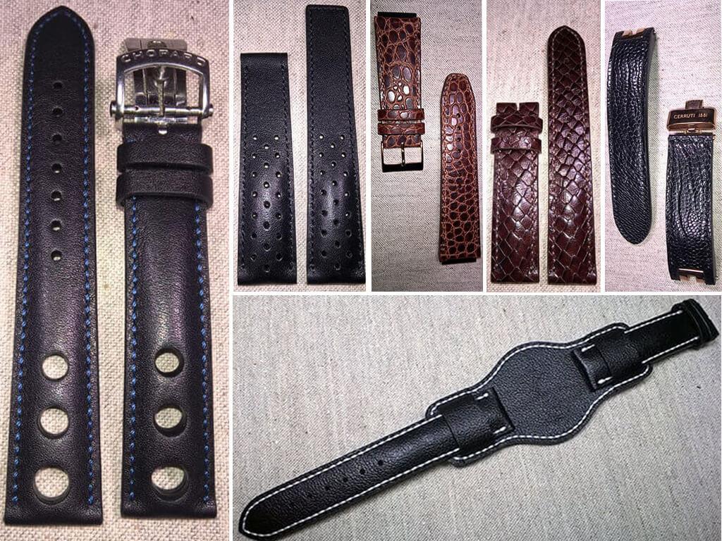 Фасоны и фактуры кожаных ремней для наручных часов
