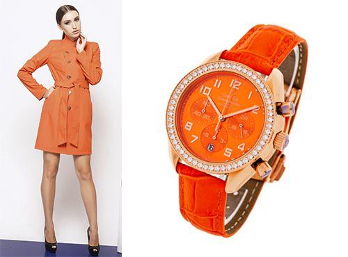 Часы Omega с оранжевым циферблатом