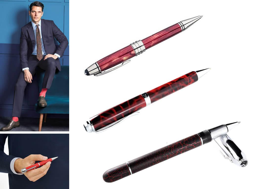 Ручки роллеры красного цвета