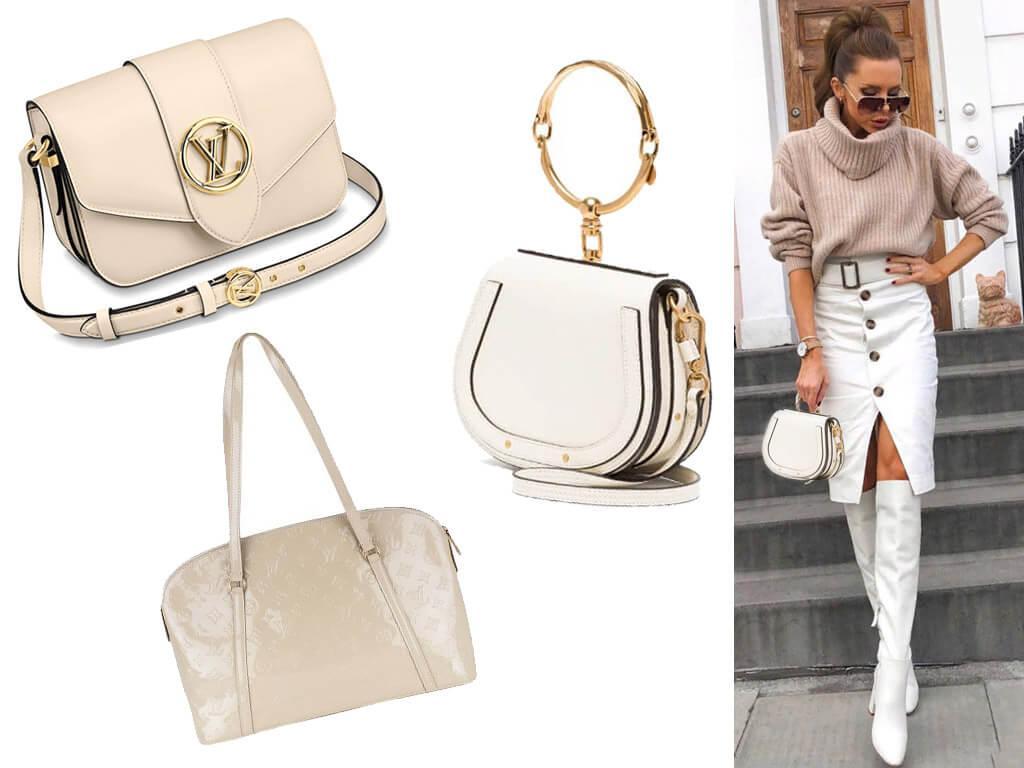 Кожаные сумки белого цвета