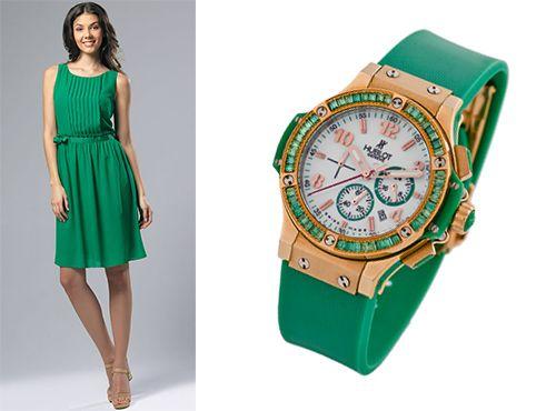 Женские часы Hublot с зеленым браслетом