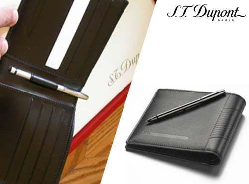 Портмоне с ручкой S.T. Dupont James Bond Leather Billfold With Bullet Pen