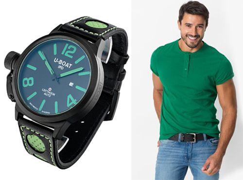 Мужские часы U-BOAT на ремне зеленого цвета