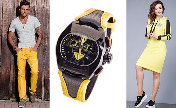 Часы Tonino Lamborghini наручные с желтым ремешком