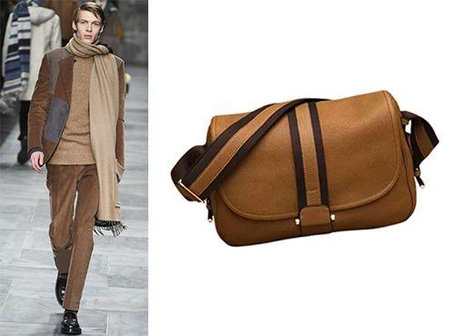 Светло коричневая мужская сумка Hermes