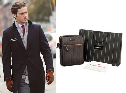Кожаная мужская сумка Ermenegildo Zegna