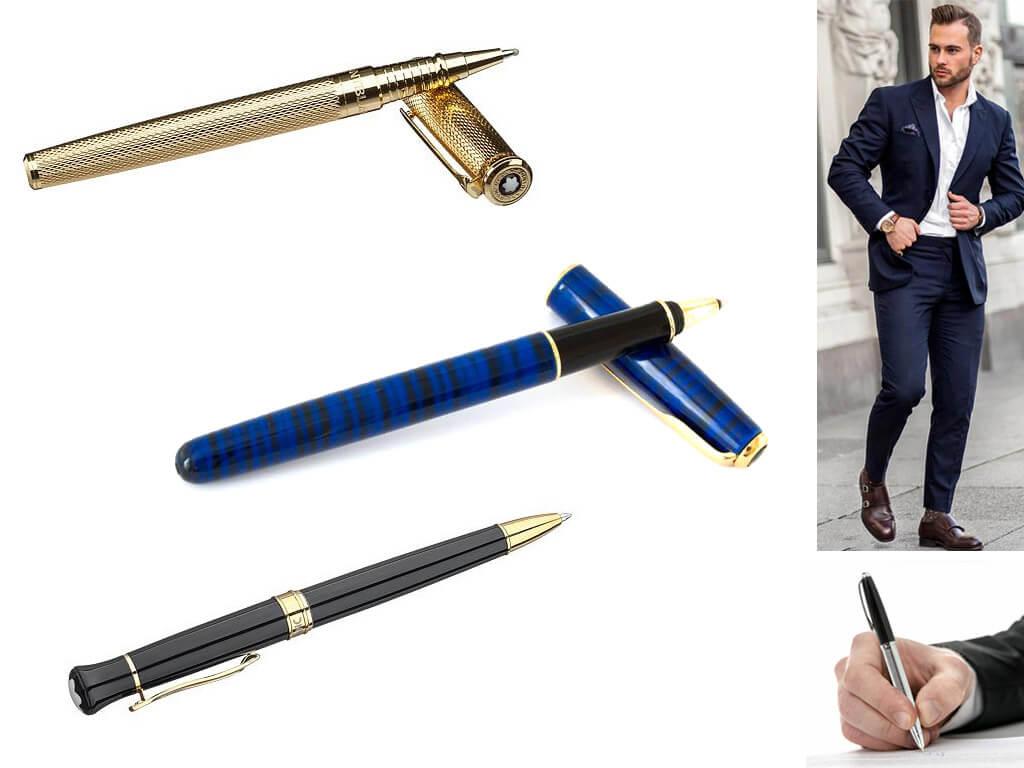 Мужские ручки с позолотой желтое золото