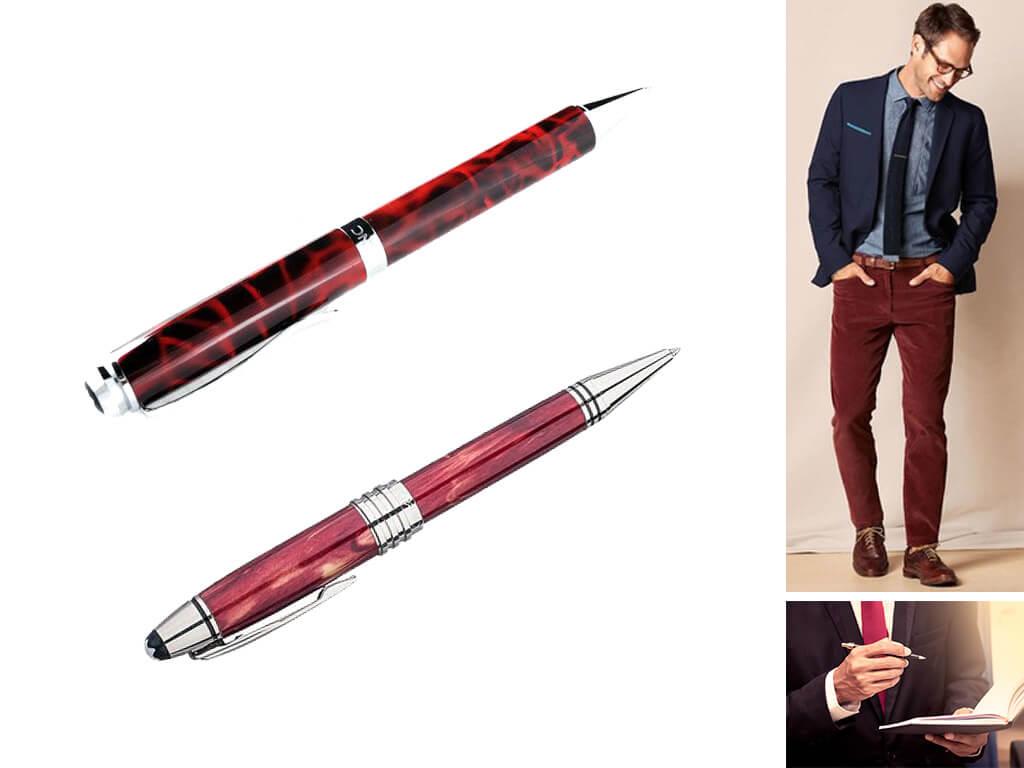 Фирменные красные ручки с поворотным механизмом