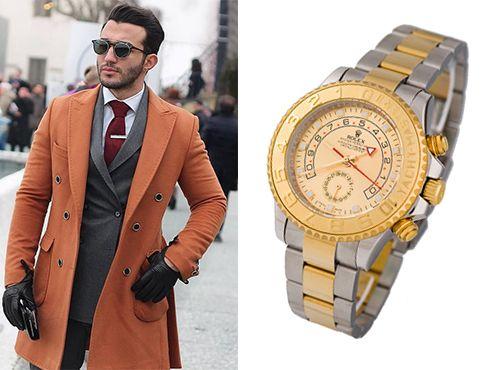 Мужские часы Rolex с серебристо золотым браслетом