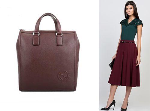 Женская бордовая сумка от Gucci