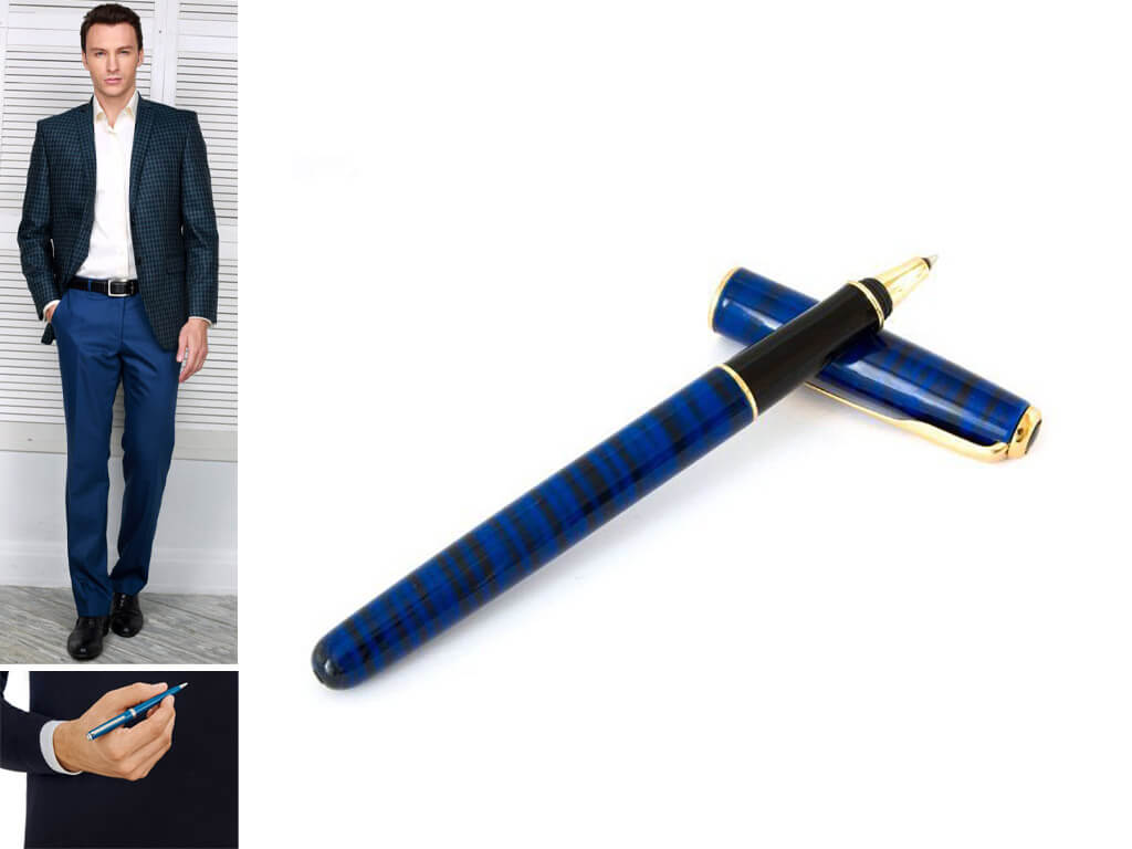 Синяя ручка роллер