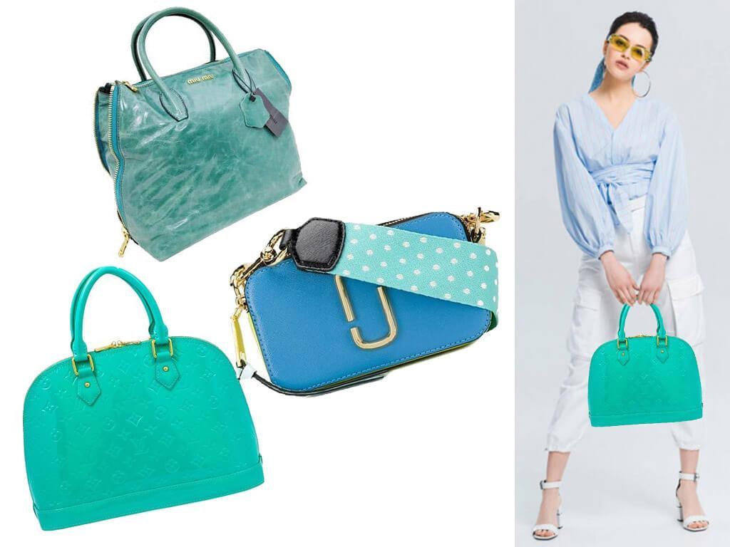 Женские кожаные сумки бирюзовые