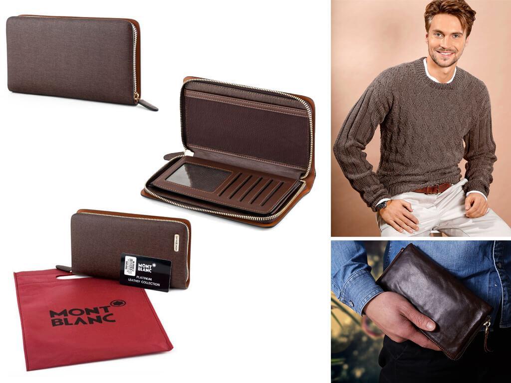 Мужские портмоне коричневого цвета чаще всего изготавливают из натуральной кожи или качественного кожзама