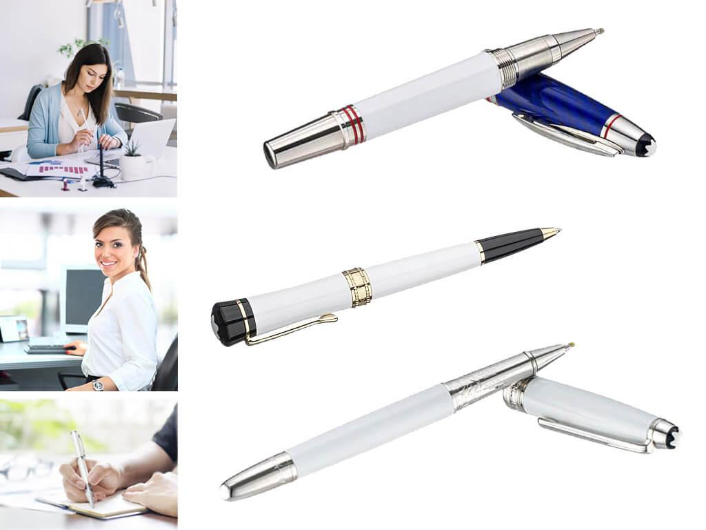 Брендовые белые ручки с логотипом