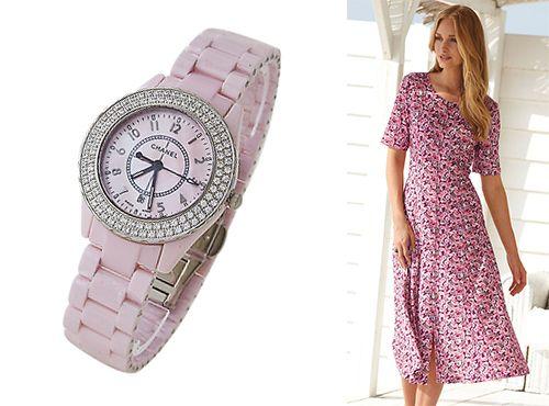 Часы женские Chanel с ремешком розового цвета