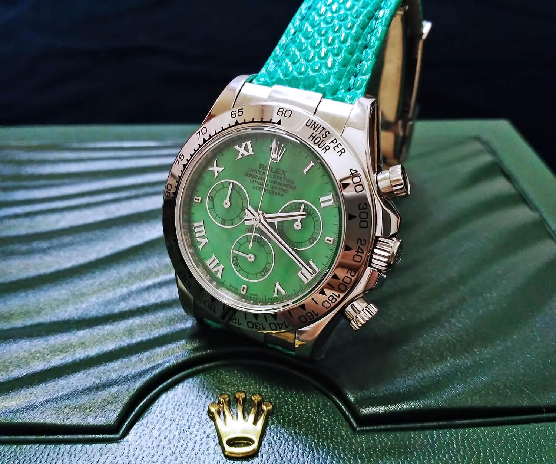 Точная реплика женских часов Rolex Cosmograph Daytona Beach Green 40mm (референс оригинала 116519)