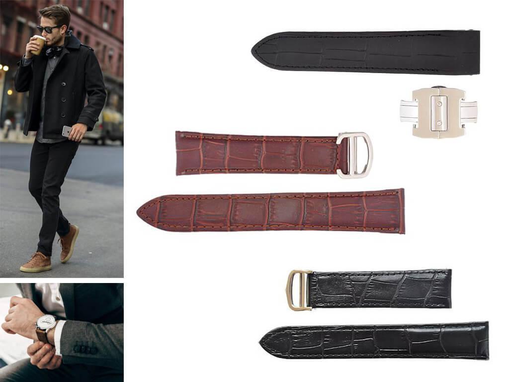 Ремешок кожаный для мужских часов Картье