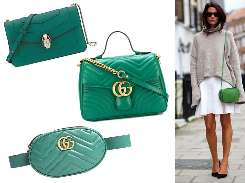 Зеленые сумки из натуральной кожи