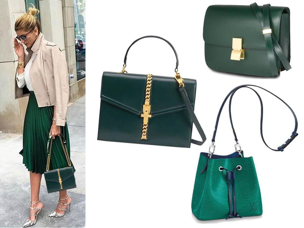 Кожаные сумки зеленого цвета