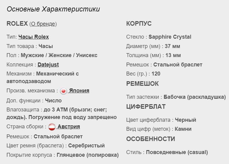 Технические параметры реплики Rolex Datejust