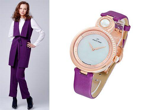 Женские часы Jaquet Droz с фиолетовым браслетом