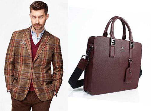 Мужская сумка Versace коричневого цвета