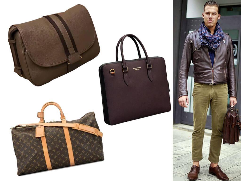 Кожаные сумки коричневого цвета в стиле унисекс