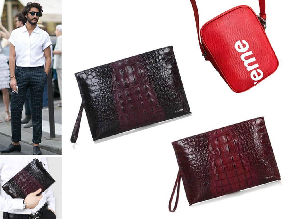 Мужские красные сумки из натуральной кожи