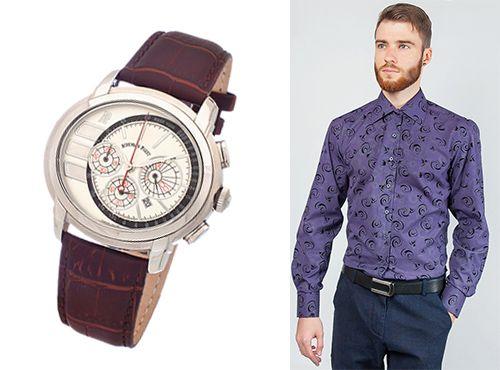 Мужские часы Audemars Piguet на ремне фиолетового цвета