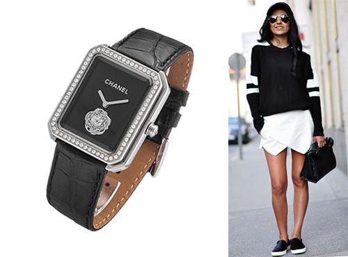 Циферблат женских часов Chanel черный