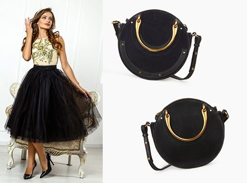 Аксессуар от Chloe в модной форме круга черного цвета