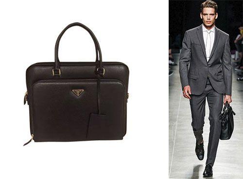 Мужская сумка-портфель из кожи от Прада