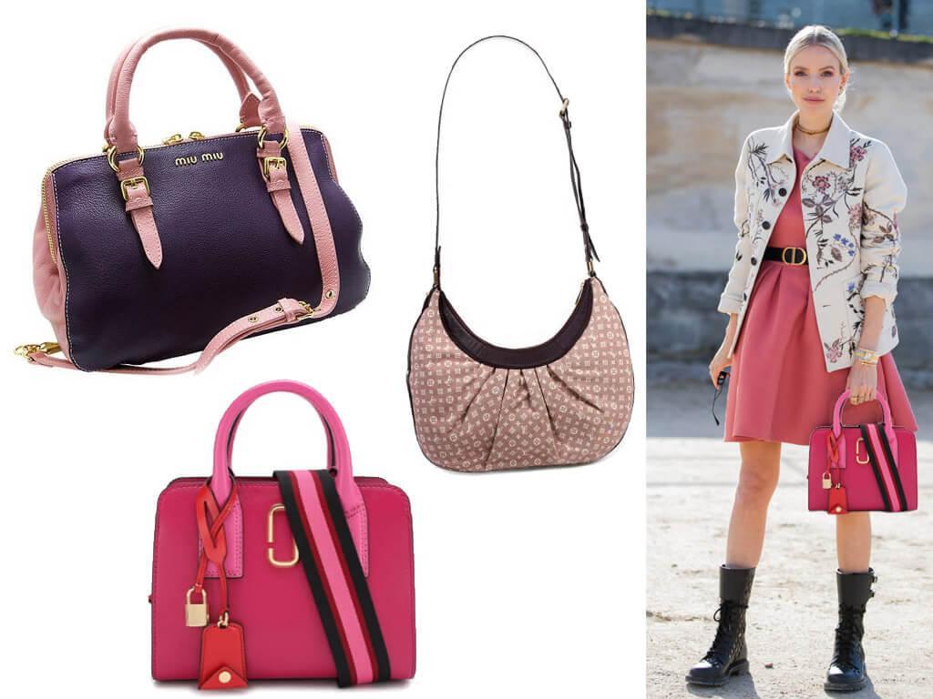 Кожаные сумки женские розового цвета