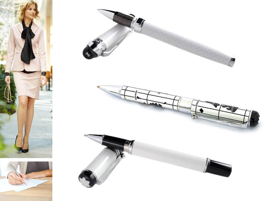 Глянцевые ручки белого цвета
