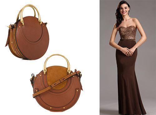 Аксессуар от Chloe в модной форме круга коричневого цвета