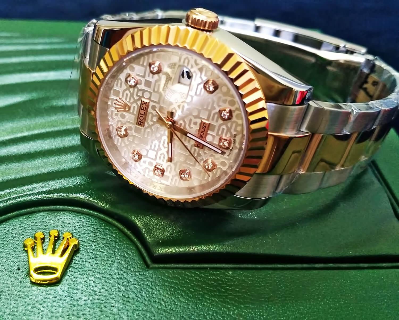 Точная реплика швейцарских часов Rolex Oyster Perpetual Datejust 36mm Steel and Everose Gold