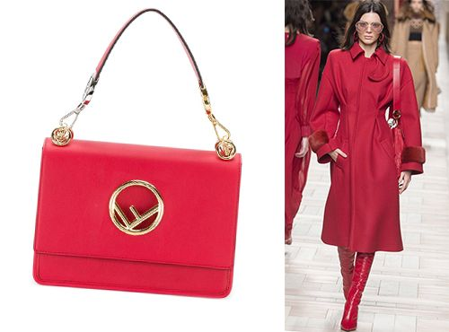 Женская красная сумка Fendi