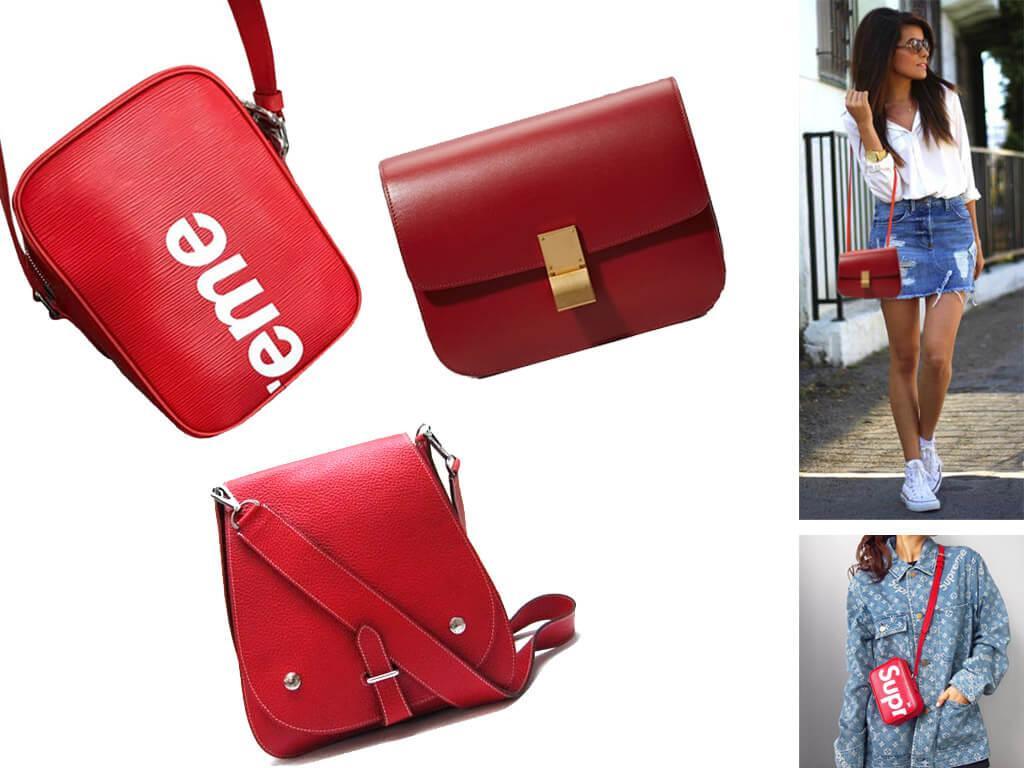 Красные кожаные сумки через плечо
