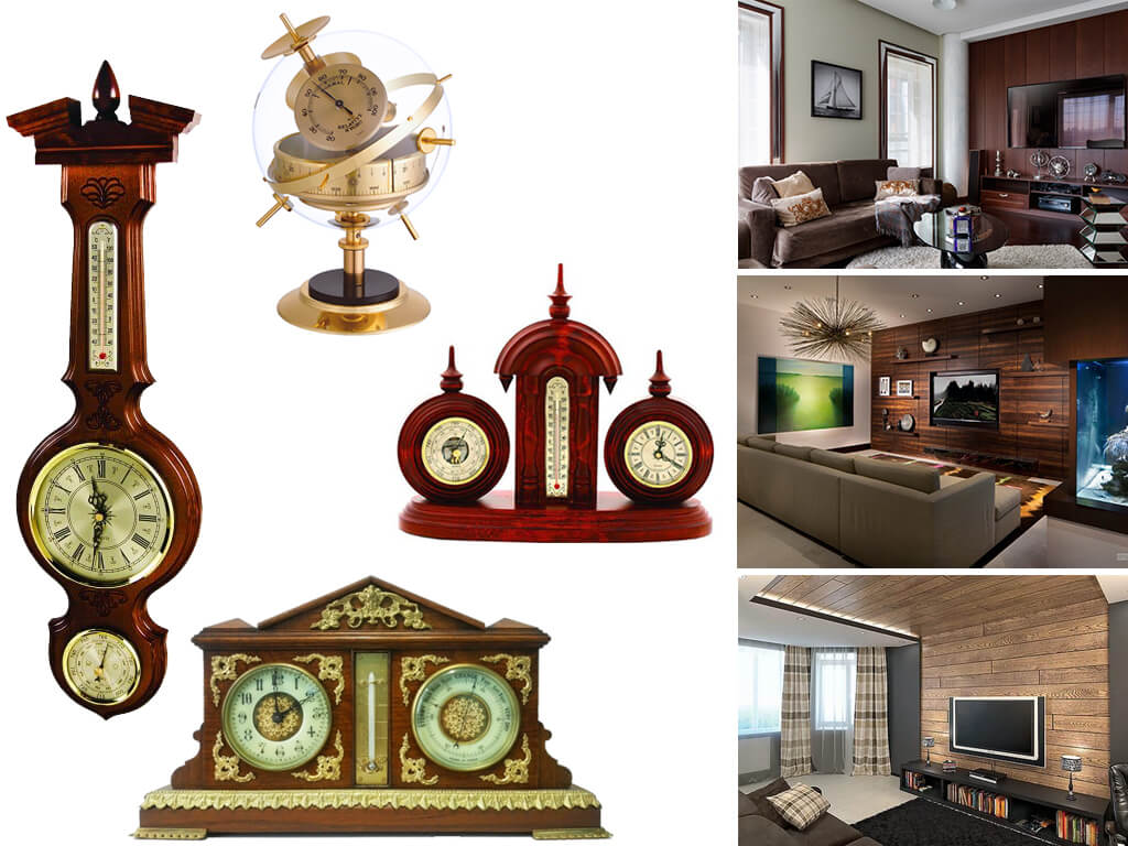 Интерьерные часы с барометром, гигрометром и термометром (домашние метеостанции)