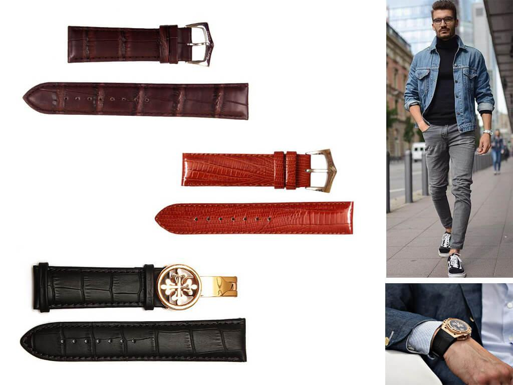 Кожаный ремешок для мужских часов Патек Филипп