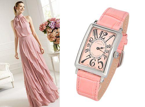 Женская копия часов Франк Мюллер Лонг Айланд розовый ремень
