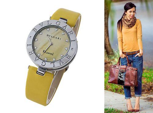 Женские часы Bvlgari с циферблатом желтого цвета