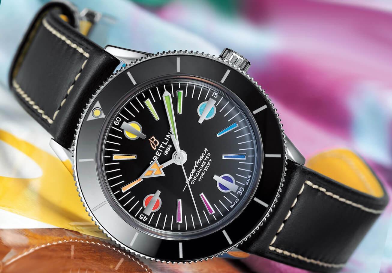 Мужские часы Брайтлинг на ремне из натуральной кожи
