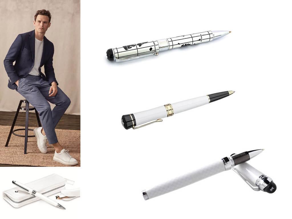 Ручки роллеры белого цвета