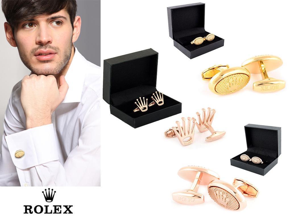 Золотистые запонки от Rolex